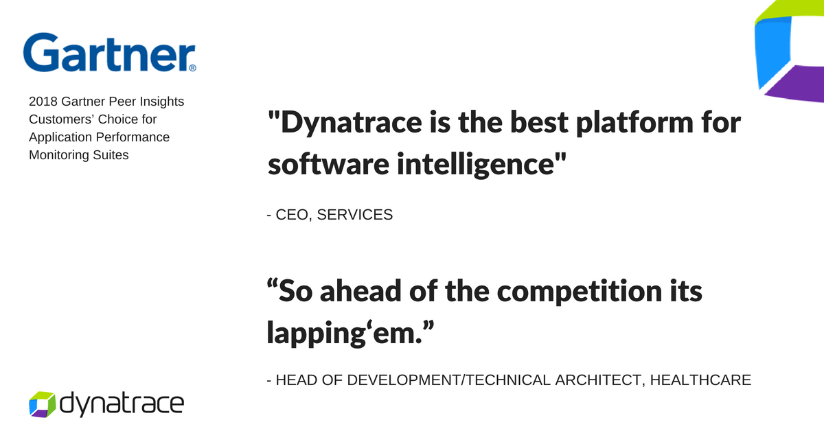 Dynatrace has been recognized as a 2018 Gartner Peer Insights